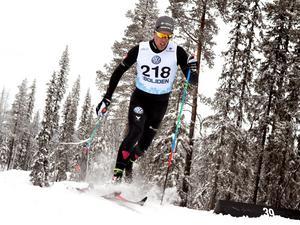 Calle Halfvarsson vann sitt kvartsfinalheat före Emil Johansson. Foto: Ulf Palm/TT