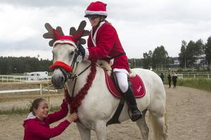 Emma och Tove Nymark och ponnyn Storm körde ett jultema:  Rudolf med den röda mulen.