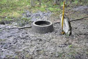 Avloppsbrunnen i Bispgården som fick ett något aromatiskt utbrott förra veckan  Foto: Ingvar Ericsson