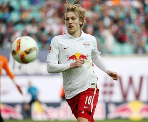 Emil Forsberg i vardagskostymen. Efter de tolv första omgångarna i 2.Bundesliga har medelpadingen högst betygsnitt enligt tyska fotbollstidningen Kicker av samtliga spelare.