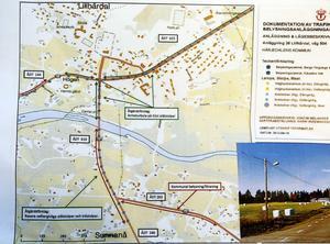 Trafikverkets illustration över vägbelysningen i Lillhärdal som berörs.