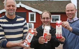 """""""Min mjölk är bäst"""" tycks de tre mjölkbönderna säga som levererar till de tre konkurrerande mejerierna. Från vänster står Christer Sandberg (Arla), Lars Karlsson (Coop) och Joakim Borgs (Gefleortens mejeri). Foto: Johnny Fredborg"""