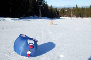"""När man går i skidskola för man åka slalom förbi roliga """"gubbar"""".Foto: Carin Selldén"""