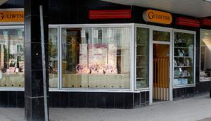 Butiken Guldfynd i köpcentret Fyren  i Hudiksvall av en av butikerna som fick besök av tjuvar på onsdagen.