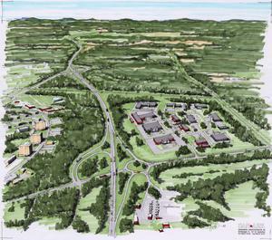 Så här skulle en trafikplats i korsningen Järbovägen-riks 80 kunna utformas.