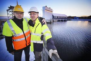Tommy Borgh, chef för elproduktionen vid Jämtkraft och Franz Birkl, projektledare