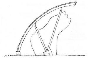 Skiss på hur ett eventuellt tak till träbjörnen i Sveg kan se ut, gjord av arkitekt. Tanken är att även installera ljuskällor i taket för bättre exponering av björnen. Om det blir tak eller rivning, den frågan har nu politikerna i kommunstyrelsen att ta ställning till.
