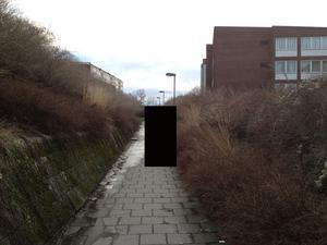 En arkivbild från 2013 från uppfarten söderut mot Bennets väg från den busshållplats på Amiralsgatan i Malmö,