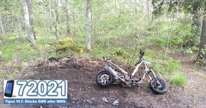 Mopeden på Vallby blev helt utbränd.