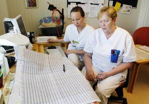Sara Hagström, sjuksköterska, och Britt-Marie Olsson, undersköterska, jobbar på kirurgen på Östersunds sjukhus. På bordet ligger sommarschemat. Eftersom det är svårt att få tag på vikarier är det ett schema som saknar marginaler.