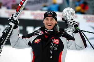 Michael Walchhofer, Österrike, körde ur gårdagens störtlopp men kunde ändå hissa kristallkulan i cupen.
