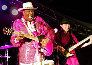 Eddie Clearwater, med sin uppochnervända gitarr, fick avsluta årets Bluesfestiav. Vilket han gjorde med bravur.