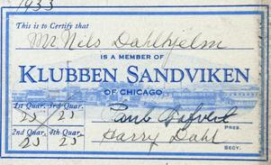 Medlemskortet till Klubben Sandviken of Chicago.