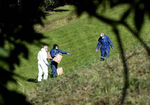 Polisen undersökte platsen på tisdagen.