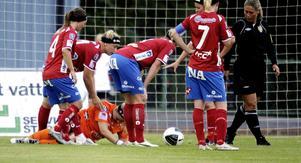 I den senaste matchen mot Linköping åkte målvakten Maria Björg Agustdottir på en hjärnskakning.