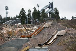 Småbackarna på Lugnet invigdes under Skidspelen 2016 och fungerar som inkörsport för unga hoppare som vågar blicka mot de stora backarna som syns i bakgrunden.