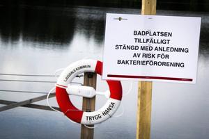 Det intensiva regnet i söndags fick vattennivån i Kyrksjön att stiga och överbelastade reningsverk att leda ut avloppsvatten i sjön.