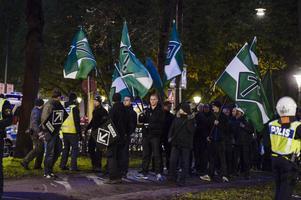 Svenska motståndsrörelsen demonstrerade i Stockholm i lördags.