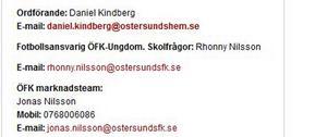Bilden är en skärmdump av kontaktsidan på ÖFK:s hemsida.