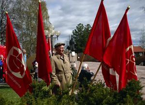 Veteran. Oscar Andersson firade 1:a maj i Tingshusparken.