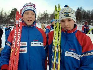 Skidtävling i Bruksvallarna Lars Nelson och Tiio Söderheim.