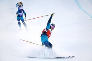 Vemdalens Viktor Andersson sträcker armen i vädret efter att han säkrat karriärens första SM-guld.