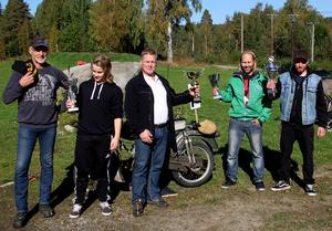 Alla vinnare uppradade. Från vänster: Tord Dahlqvist, Alex Backlund, Torbjörn Edström, Matti Hellström och Daniel Olsson.