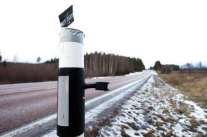 På väg 266 mellan Falun och Hedemora testas de viltvarnande kantstolparna.