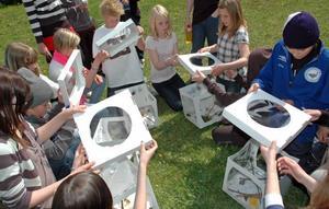 FJÄRILSHUS. Ett, två, tre... räknar eleverna innan de öppnar locken på fjärilshusen.