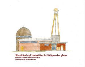 Så här är det tänkt att moskén ska se ut. Byggnaden är enplanshus med kupol och tillhörande 18 meter hög minaret.