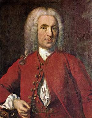 Egen hög person. Carl von Linné själv, avprträtterad av J H Scheffel 1739.