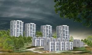 De 18 radhusen är tänkta att byggas i öst-västlig riktning, på tomtens södra del. Norr om radhusen byggs punkthusen, som är tänkta att rymma cirka 176 lägenheter.