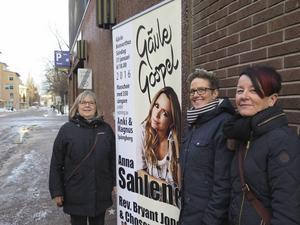 Karin Sundin, studieförbundet Sensus, Karin Björk, studieförbundet Bilda och projektledare Anna Helmerson roddar med det organisatoriska bakom Gävle Gospel som i år arrangeras för sjuttonde gången sedan 1998.