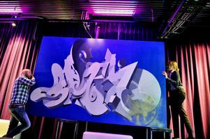 "På konstauktion. Graffitiverket ""PKE"", skapat av den svenske konstnären Pike."