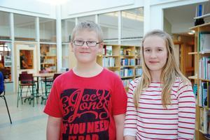 Anton Forsman och Nikki Wendel från Björktjära skola kämpade tappert men det räckte inte.