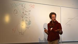 Gudrun Schyman, partiledare för Fi, höll föreläsning i studentkårens lokaler.