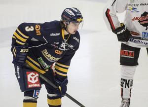 Erik Brissle gjorde Sundsvall Hockeys andra mål i den första perioden mot Leksands IF.