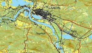 Bölealternativet handlar om mark väster om Hybo. Till området byggs nytt järnvägsspår och en ny väg norrut till riksväg 84 (Hudiksvallsvägen). Ritningen är ungefärlig och visar inte det exakta området.