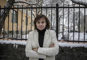 Isabella Lövin (MP) på besök i Östersund.