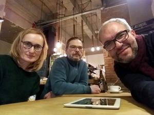 Dorota Nygren, Wojciech Dorosz och Marcin Majchrowski, medlemmar i styrelsen för Stowarzyszenie Dziennikarzy i Twórców Radia Publicznego.