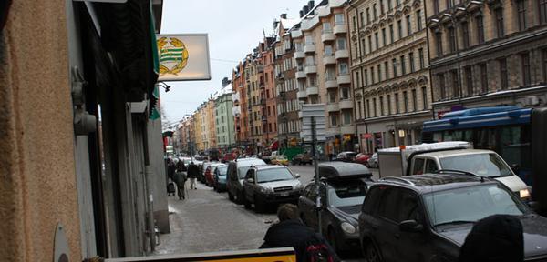 Här på Hornsgatan ligger Hammarbys supporterbutik. Foto: Erik Högström