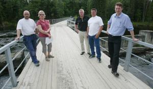 Nedansjöborna vill ha bron kvar och tycker att Sydkraft eller de andra kraftbolagen ska fortsätta betala. Stefan Eriksson, Hasse Lindholm, Eva Karlsson, Marcus Blomqvist och Stig Jonsson.
