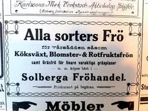 Så här såg en annons för en fröhandel ut 1912 i VLT. Charmigt, eller hur?