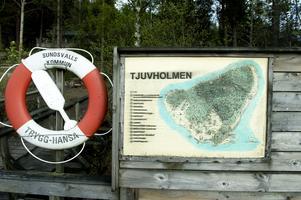 Äldre karta över utflyktsmål på Tjuvholmen.