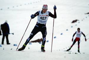 Teodor Peterson vid JSM i Falun förra året, där han åkte hem ett silver i skiathlon.