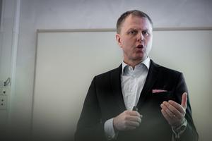 Per Lyrvall, Sverigechef för Stora Enso, på torsdagens presskonferens.