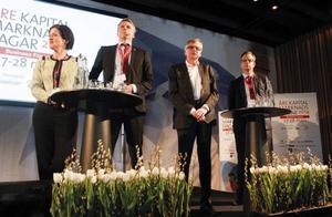 Trots att tunga ekonomipolitiker från två allianspartier och två oppositionspartier drabbade samman var de fyra överens om det mesta. Fr v Anna Kinberg Batra (M), Per Bolund (MP), Per Åsling (C) och Mikael Damberg (S).