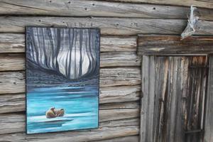 Den blåa nyanserna i målningen
