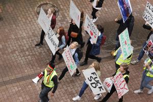 Demonstrationen arrangerades av Ung Vänster och Feministpepp.