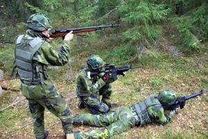 Vapnen är kopior av riktiga vapen och finns i en uppsjö olika varianter. På bilden syns vapentyperna M14, M4 och M16 varav M4 är det vanligaste vapnet.
